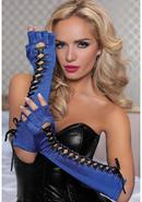 Fingerless Elbow Gloves - Blue - Os
