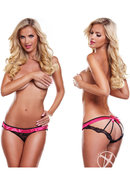 Secrets Vibrating Open Back Panty Blk/pn